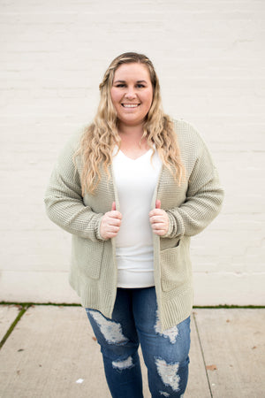 Lt Sage Spring Knit Pocket Cardigan (1X-3X)