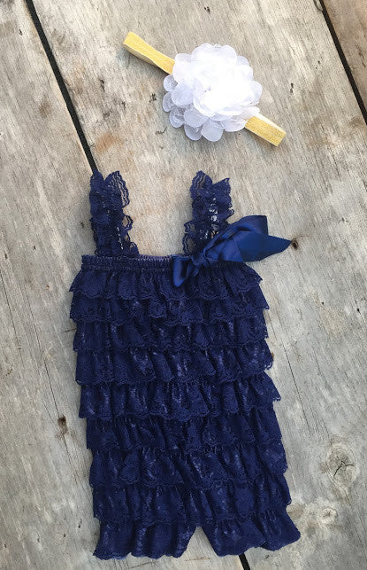 Navy Blue Lace Ruffle Romper