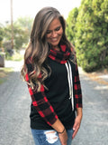 Buffalo Plaid & Black Cowl Neck Top