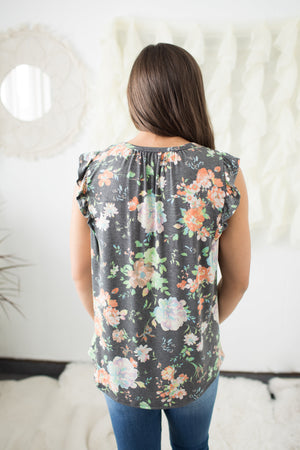 Gray Wildflower Floral Ruffle Sleeve Tank (SM-3X)