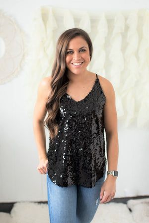 Black Sequin Racerback Blouse Tank