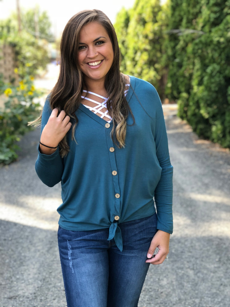 Teal Button Front Tie Long Sleeve Top (SM-3X)