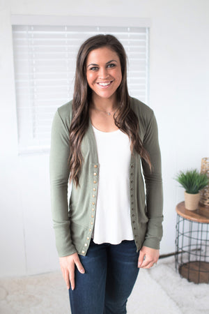 Light Olive Snap Front Cardigan (SM-3X)