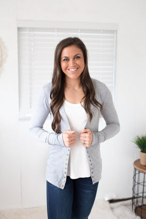 Heather Gray Snap Front Cardigan (SM-3X)