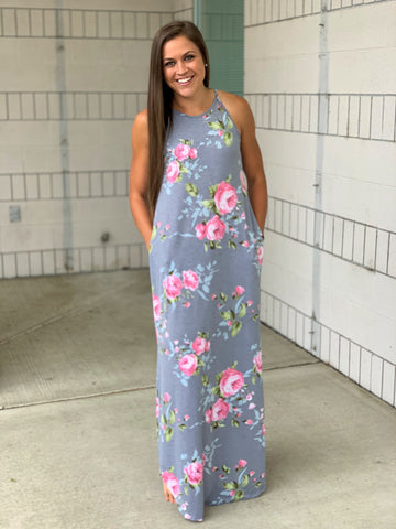 Gray Pink Floral High Neck Pocket Maxi Dress