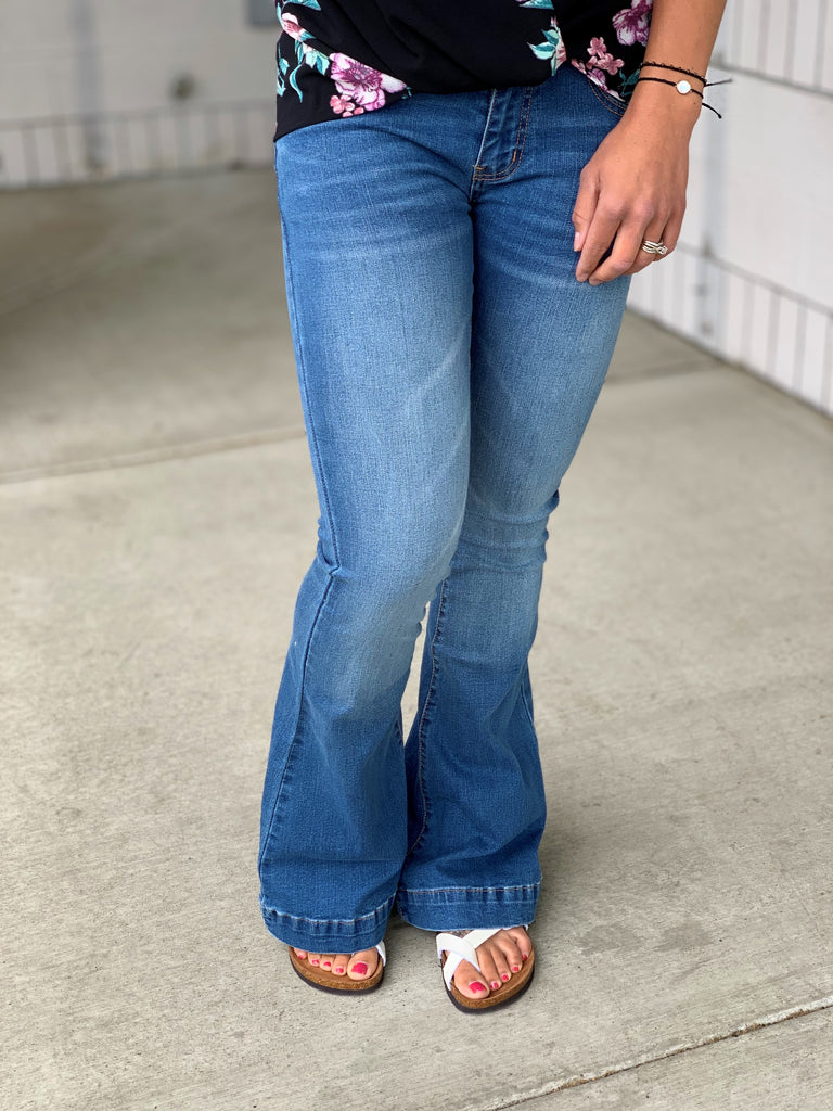 L&B Medium Wash Trouser Flare Jeans (4-22)
