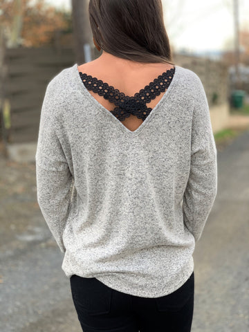 Taupe Criss Cross Lace Back Sweater