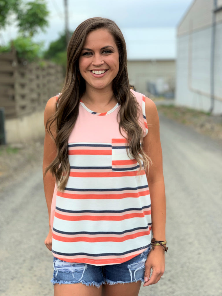 peach striped pocket tank top