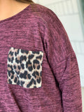 Plum Side Knot Leopard Pocket Sweater