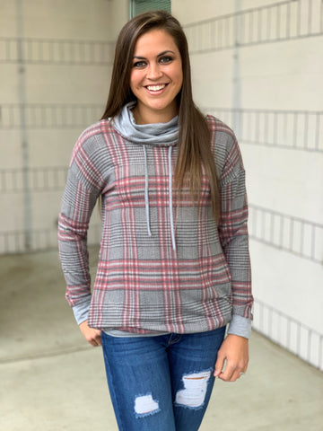 Gray Plaid Cowl Neck Tunic (SM-3X)
