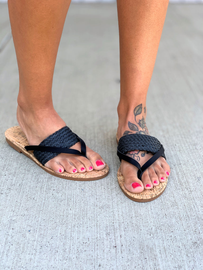Black Strapped Cork Rose Sandals