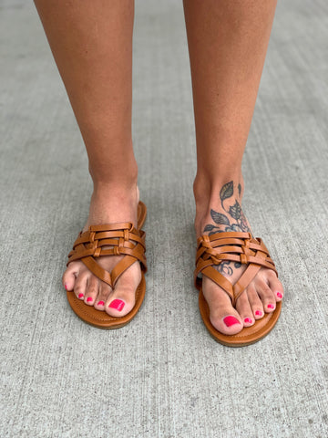 Tan Limitless Ladder Strap Sandals