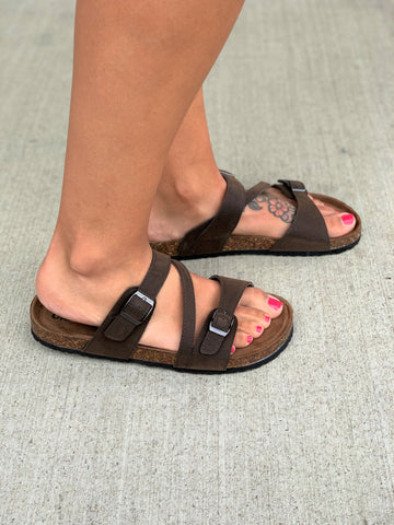 Brown Suede Crossover Birk Sandals