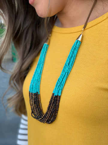 Turquoise & Brown Beaded Necklace