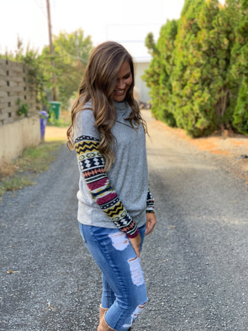 Aztec Sleeve Neck Button Sweater