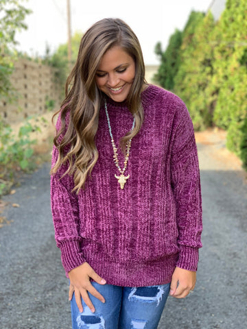 Plum Oversized Chenille Pullover Sweater (SM-XL)