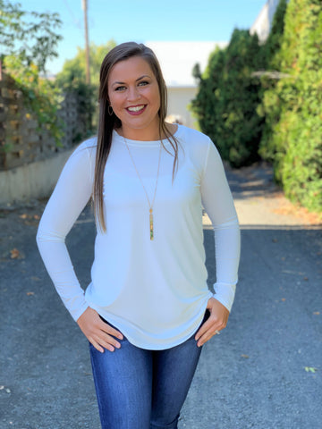 Ivory Long Sleeve Perfect Tee