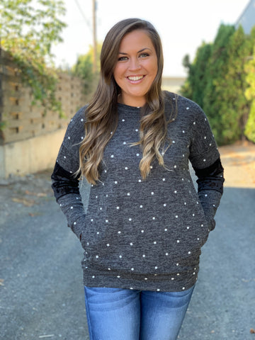 Gray Polka Dot Pullover Sweater