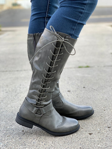 Gray Lace Up Adjustable Calf Boots