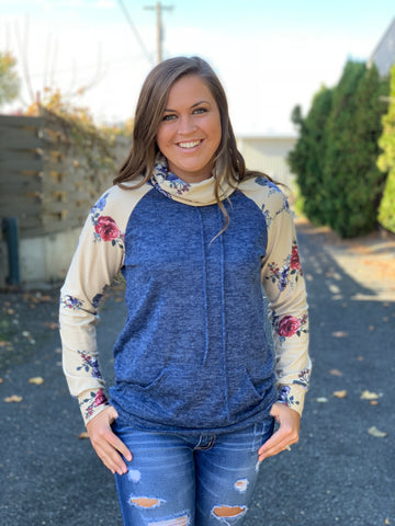 Blue & Tan Floral Cowl Neck Sweater