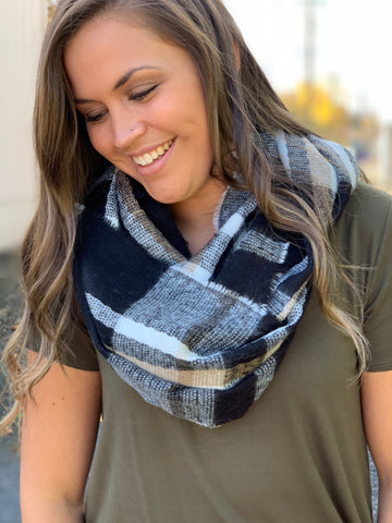 Black White Tan Plaid Infinity Scarf