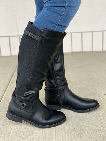 Black Wide Calf Riding Boots