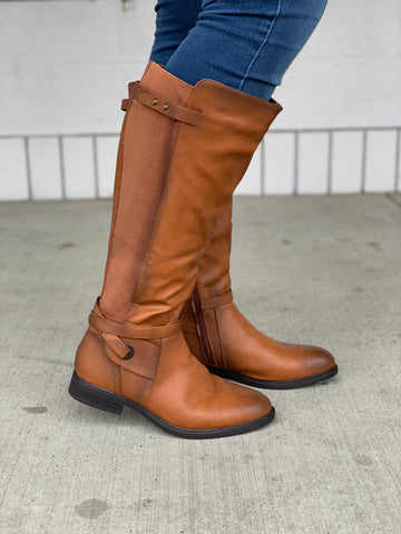 Cognac Brown Wide Calf Riding Boots