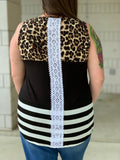 Leopard Stripe Colorblock Tank