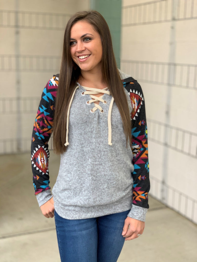 black aztec lace up hoodie