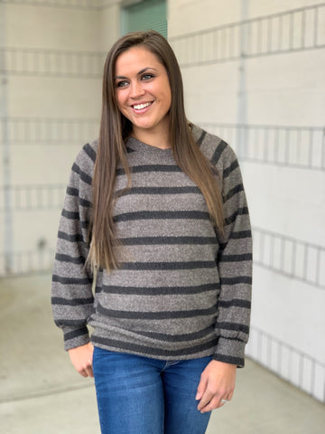 Heathered Gray & Black Striped Slouchy Sweater