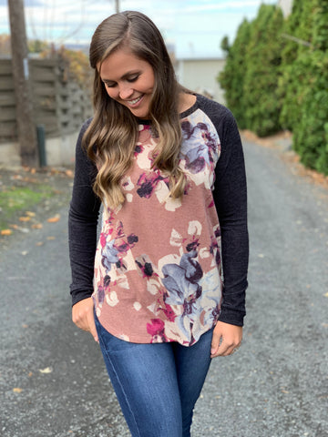 Charcoal Dusty Pink Floral Raglan Sweater