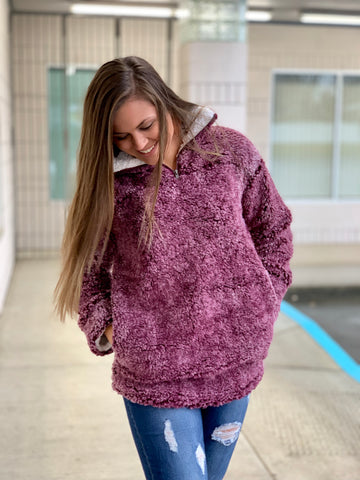 Burgundy Mammoth Pullover Sweater