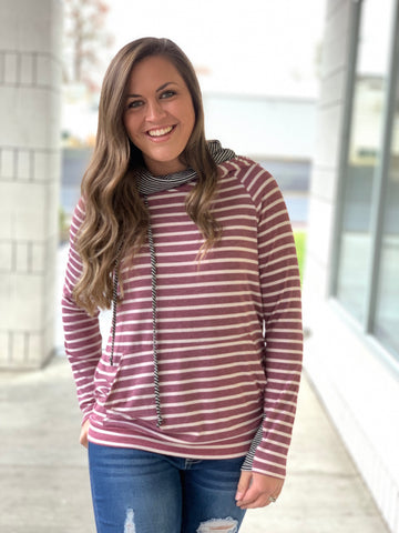 Mauve Striped Cowl Neck Hoodie