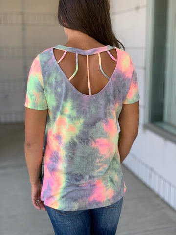 Pink Yellow Gray Tie Dye Caged Back Top