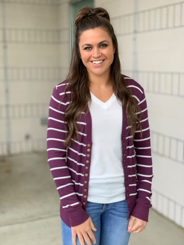 Eggplant Ivory Striped Snap Front Cardigan (SM-3X)