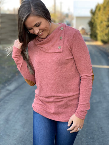 Light Brick Button Neck Elbow Patch Sweater