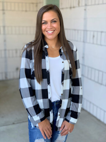Black White Plaid Roll Up Sleeve Button Up Top (SM-3X)