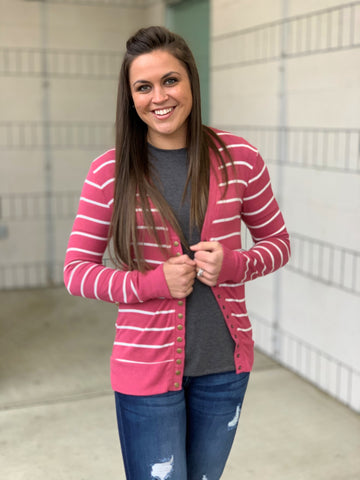 Rose Pink Ivory Striped Snap Front Cardigan