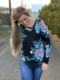 Black Floral Criss Cross Long Sleeve Top (SM-3X)