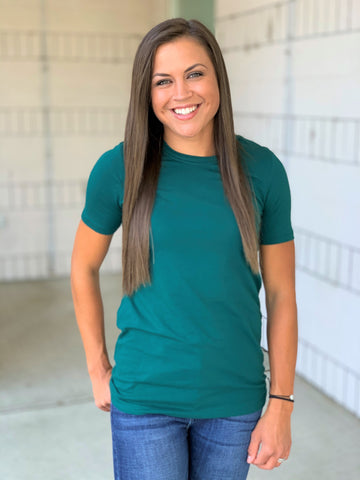 Deep Green Basic Cotton Crew Neck Tee (SM-3XL)