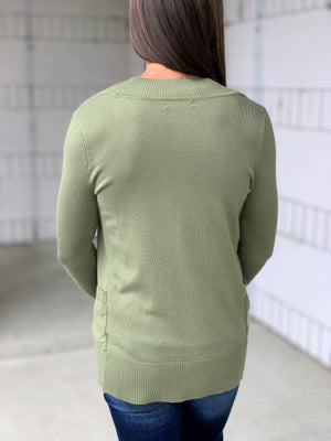 Lt Olive Everyday Pocket Cardigan