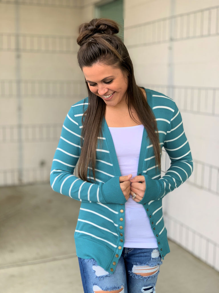 dusty teal ivory striped snap cardigan