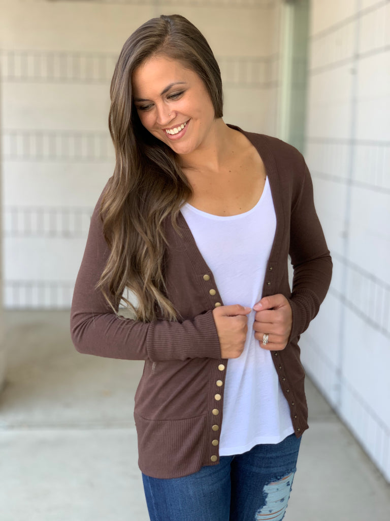 brown snap cardigan