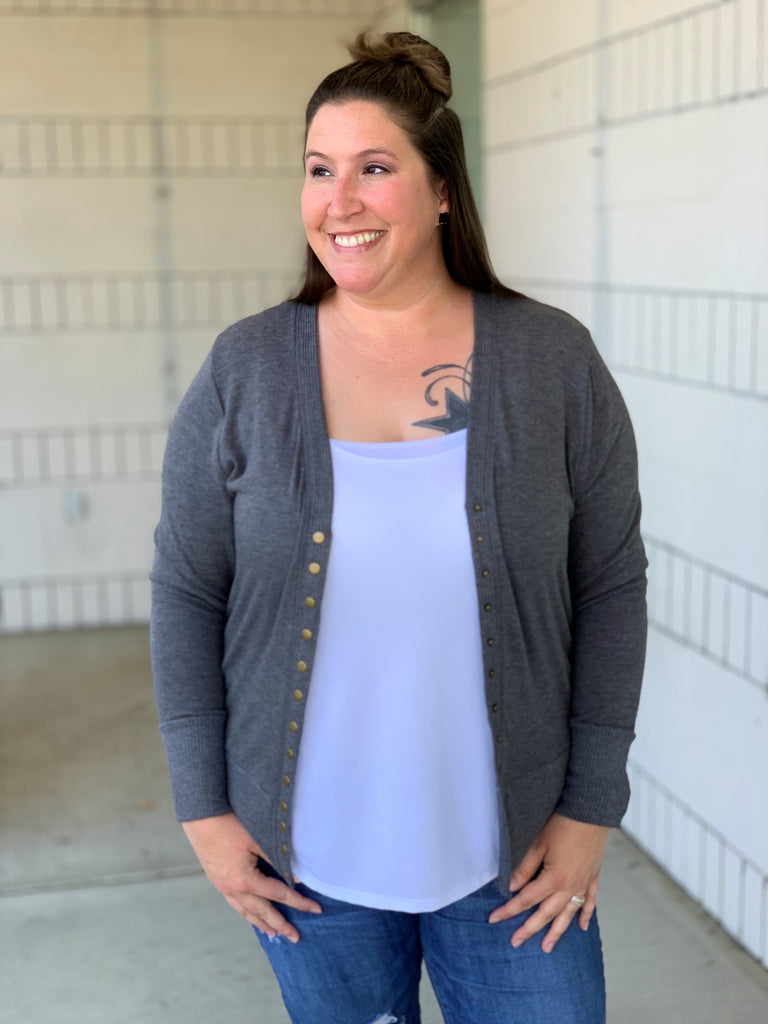 Charcoal Gray Snap Front Cardigan