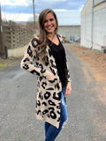 Leopard Print Long Pocket Cardigan