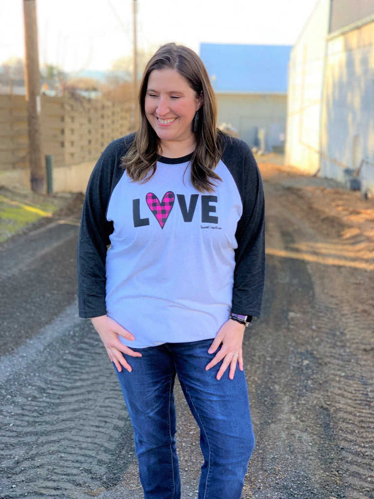 love pink plaid raglan tee