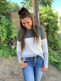 Gray/Olive & White Colorblock Thermal LS Top (SM-3X)