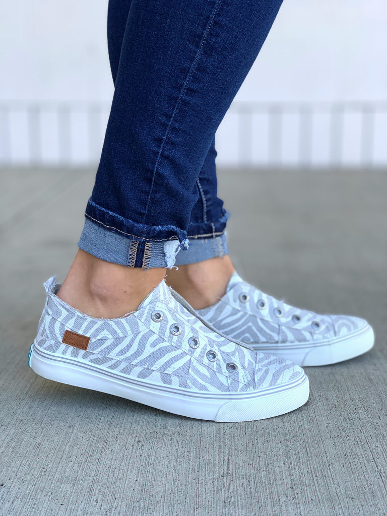 Blowfish White Gray Zebra Slip On Sneakers
