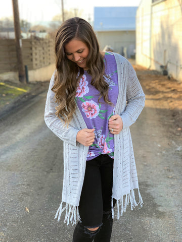 Silver Gray Open Knit Fringe Cardigan