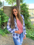 White Blue Pink Plaid Roll Up Sleeve Button Up Top (SM-3X)